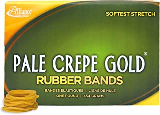 """product image for Alliance Rubber 20125 Pale Crepe Gold Rubber Bands Size #12, 1 lb Box Contains Approx. 3850 Bands (1 3/4"""" x 1/16"""", Golden Crepe)"""