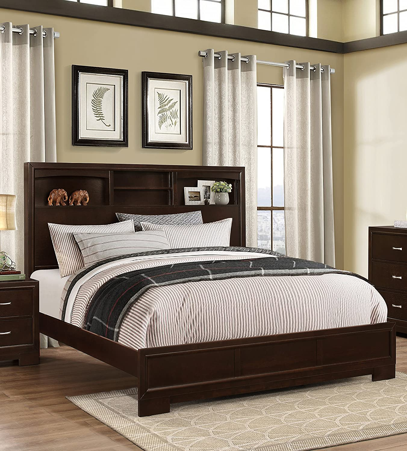 Amazon.com: Roundhill Furniture Montana Modern 5 Piece Wood Bedroom Set  With Bed, Dresser, Mirror, Nightstand, Chest, Queen, Walnut: Kitchen U0026  Dining