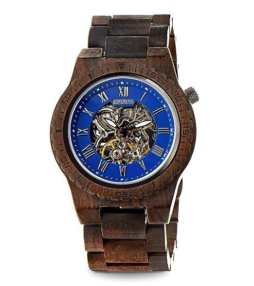 Bonoboss Kronos - Reloj Automático de Madera para Hombre, Cristal de Zafiro (Sándalo Negro