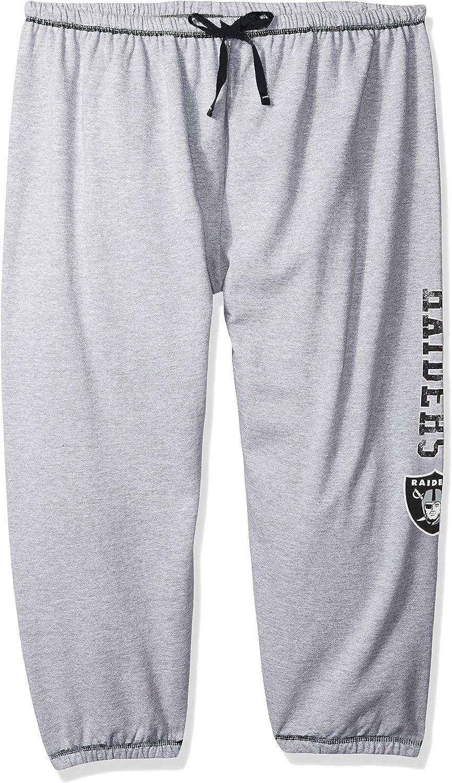 NFL Oakland Raiders Women Lt Weight Fleece Pant W//Topstitch Trim Outside Ds W//M Logo Down Leg 2X Heathergrey