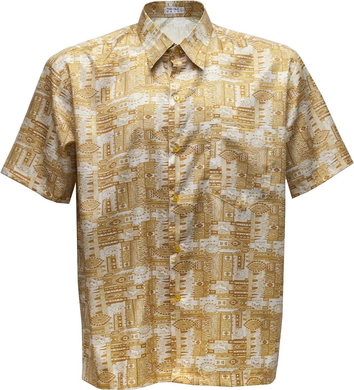 Camisa de hombre de manga corta estampado Paisley de seda tailandesa, dorado, mediano: Amazon.es: Hogar