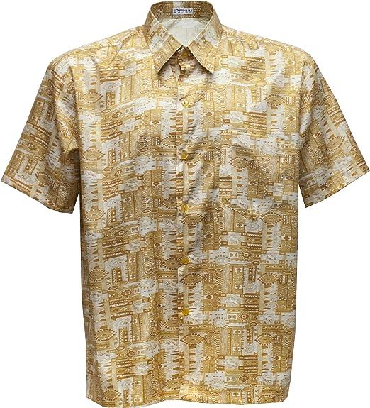 Camisa de hombre de manga corta estampado Paisley de seda tailandesa, dorado, XXL: Amazon.es: Hogar