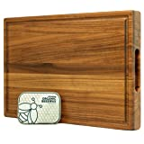 Premium Grade-A Teak Wood Cutting Board Cured with Organic Beeswax, Thick Chopping Block, Beeswax Box Included - 17 x 11…
