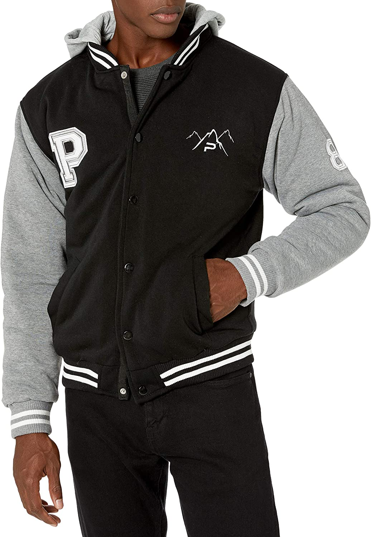 The Polar Club Boys Fleece Varsity Baseball Jacket Removable Hood
