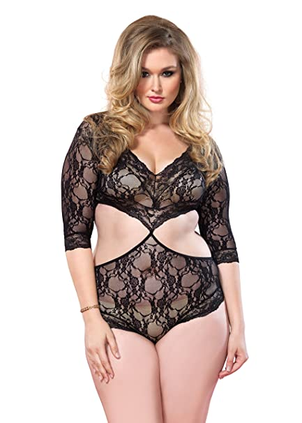 a7fc9abb200 Amazon.com  Leg Avenue Sexy Plus Size Cut Out Floral Lace Teddy ...