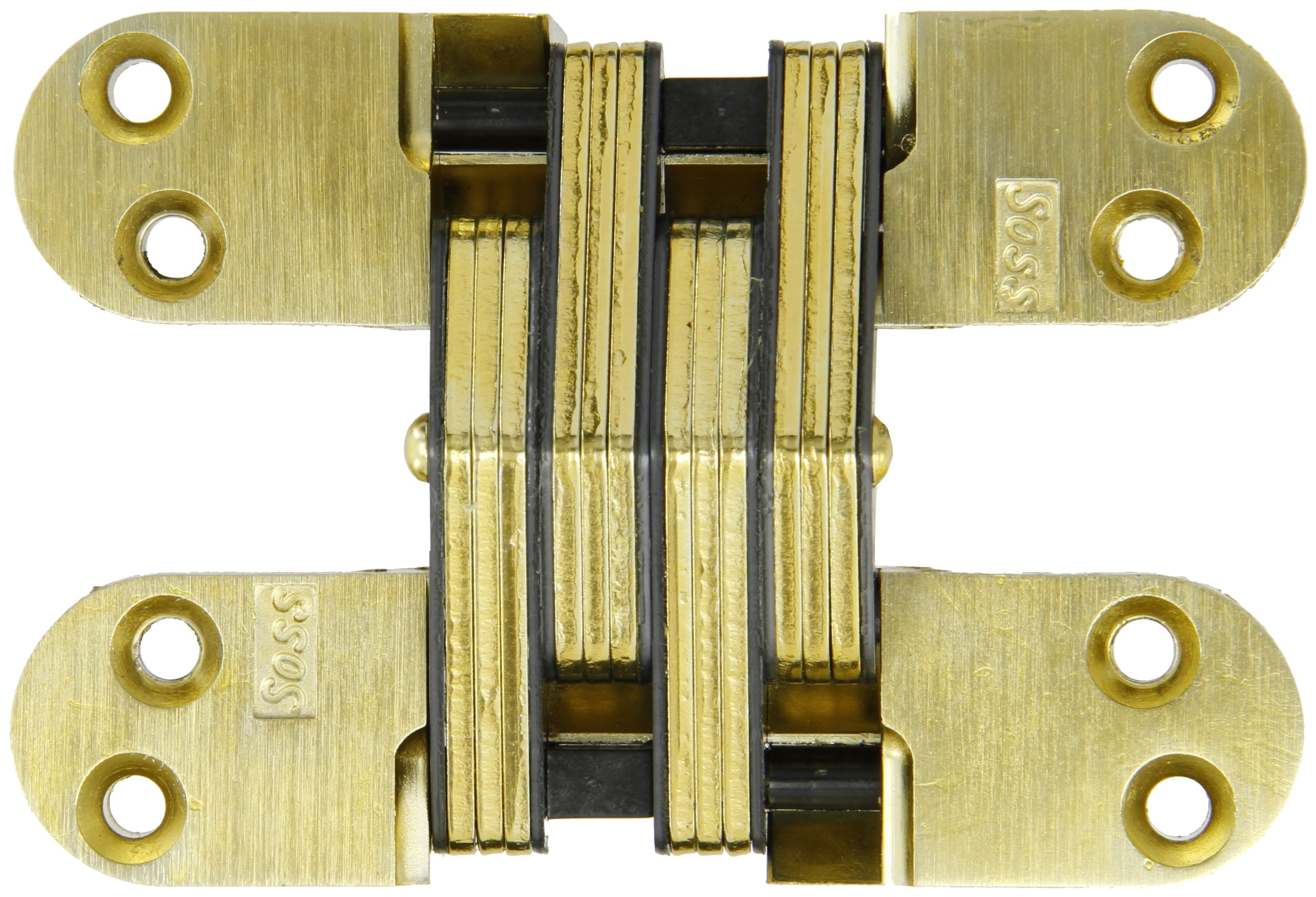 SOSS Mortise Mount Invisible Hinge with 8 Holes, Zinc, Satin Brass Finish, 4-5/8'' Leaf Height, 1-1/8'' Leaf Width, 1-41/64'' Leaf Thickness, 10 x 1-1/2'' Screw Size