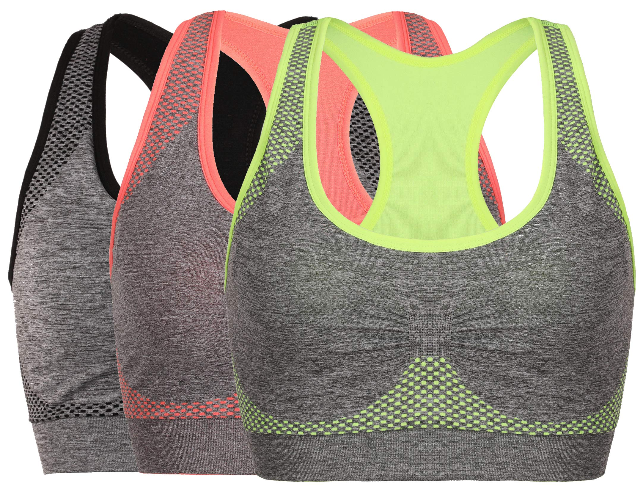 Vermilion Bird Women's Seamless Sports Bra High Impact Pocket Yoga Bras (30A 30B 30C 30D 32A 32B 32C, 3 Pack:Grey Green Orange)