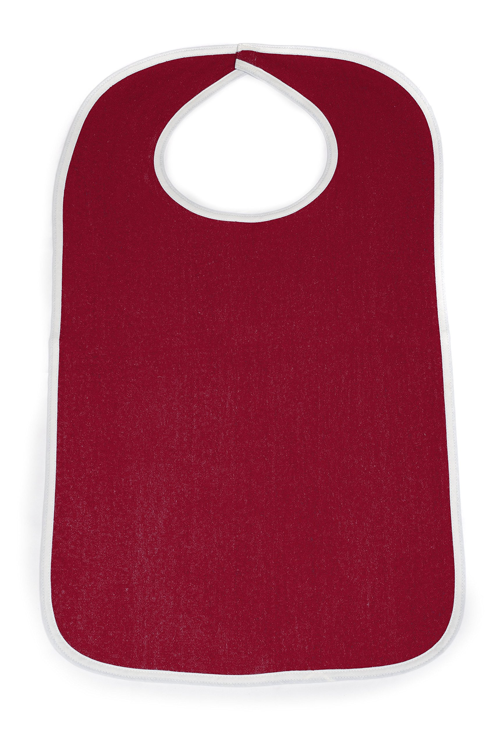 Comfort Finds Terry Cloth Adult Size Senior Bib Value Pack with Hook & Loop Closure - Elderly Men and Women Food Catcher Solutions (Burgundy, 12 Pack)