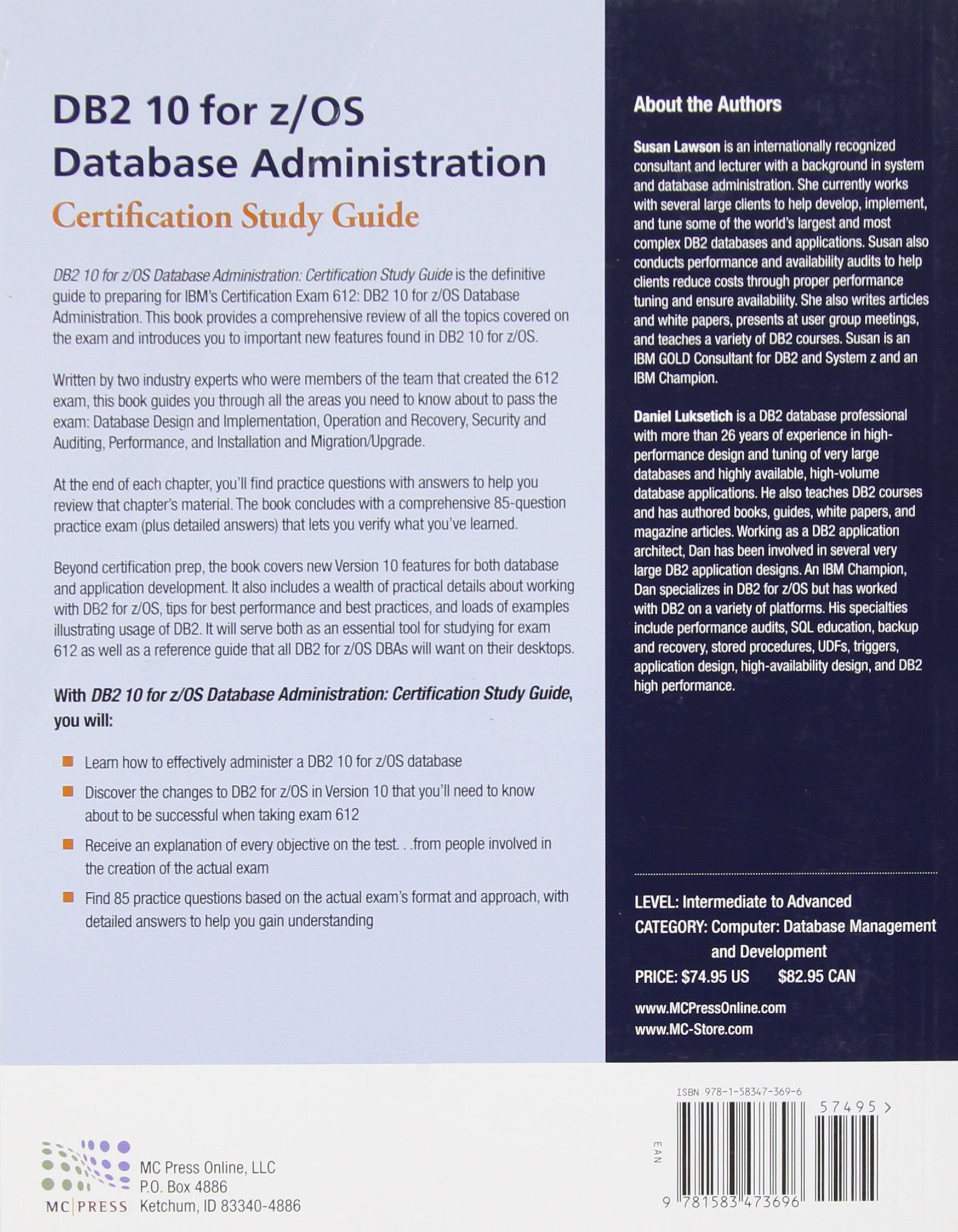 Db2 10 For Zos Database Administration Certification Study Guide