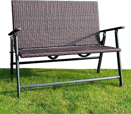 Exclusiv Aluminio Trenzado Banco de jardín Plegable | – Banco | 116 x 95 x 66 cm Carga hasta 200 kg ~ KDS: Amazon.es: Jardín