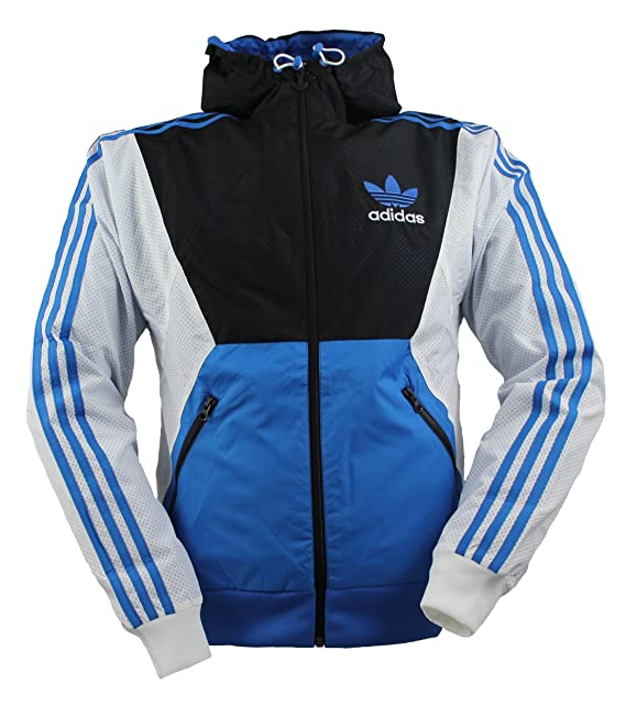 cb2361f22a Giacca a Vento Adidas Originals da Uomo, Leggera - Blu/ Bianco/ Nero ...
