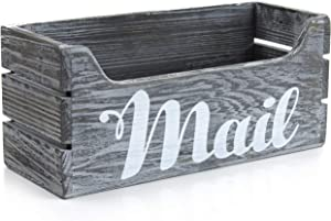 Daisy's House Rustic Mail Organizer with Hanging Hardware – Distressed Barnwood Mail Holder Letter Box in Weathered Gray Finish – Desktop Mailbox for Home Office and Farmhouse Desk Decor