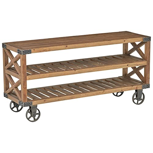 Stone Beam Factory Wheel Entertainment Console, 57.9 W, Natural