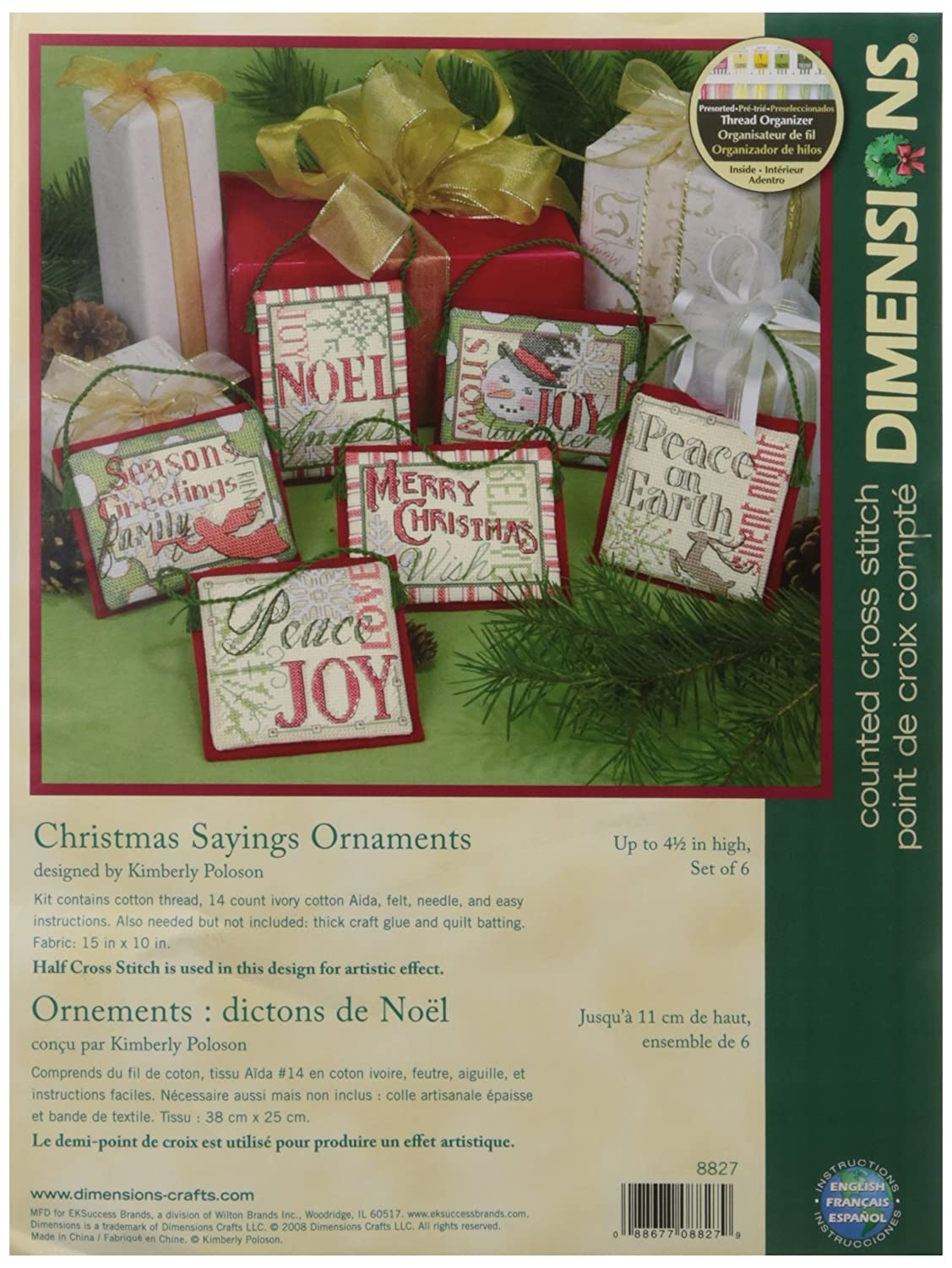Dimensions Needlecrafts Counted Cross Stitch, Christmas Sayings Ornaments EKS 08827