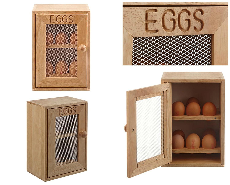 2 Regale mit jeweils 6 F/ächern Aufbewahrungsschrank f/ür Eier aus Holz fasst 12 Eier