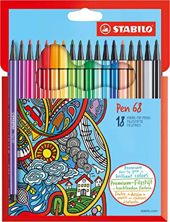 Premium Felt Tip Pen STABILO Pen 68 Wallet of 24 Assorted Colours