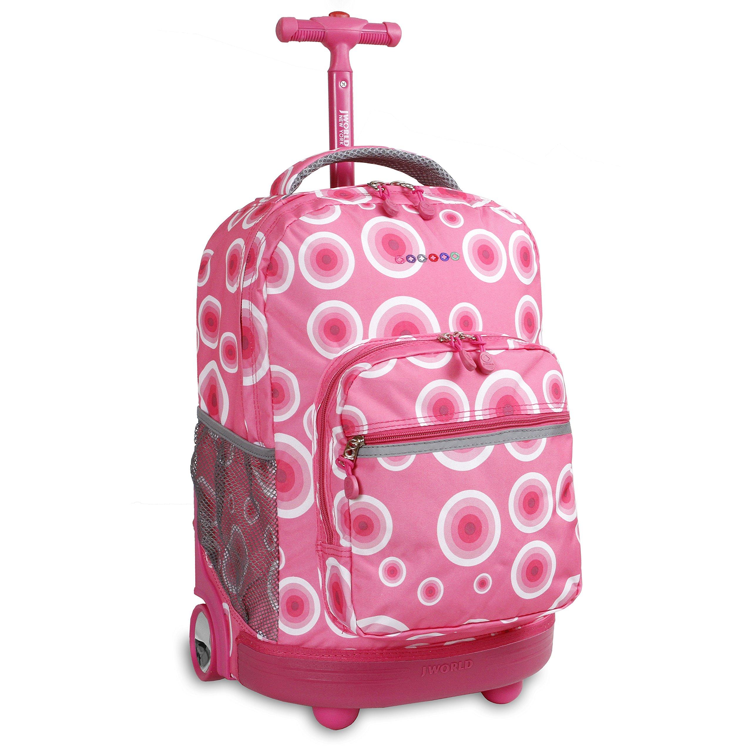 J World New York Sunrise Rolling Backpack, Pink Target, One Size