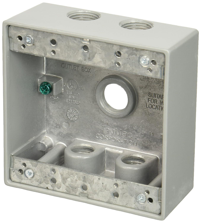 TayMac DB550S 4 1 2 Inch X 4 1 2 Inch Gang 2 Inch Deep Weatherproof Box 1 2 Inch Outlets Gray