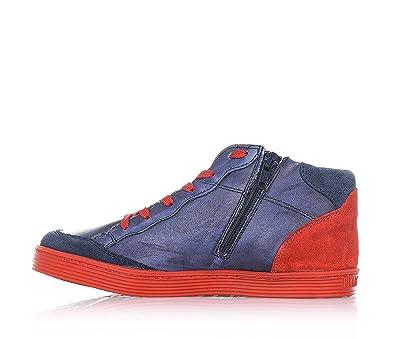 BIKKEMBERGS - Zapatilla Azul/Rojo con cordones, en cuero y gamuza, cremallera lateral, costuras visibles y suela en caucho, Niño, Niños-23