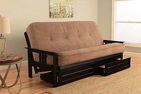 Amazon.com: Estilo de Misión Negro Marco de madera futon con ...