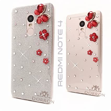 info for 927f9 81fd8 DORRON Designer Glitter Bling Girls Soft TPU Back Case Cover for Mi Xiaomi  Redmi Note 4 (Silver_Butterfly)