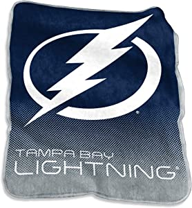 """Logo Brands 827-26A NHL Tampa Bay Lightning Plush Raschel Throw with Large Logo Blanket, Multicolor, 50"""" x 60"""", One Size"""
