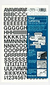 Chartpak Self-Adhesive Vinyl Capital Letters and Numbers, 1/2 Inches High, Black, 201 per Pack (01010), 1/2 Inch High