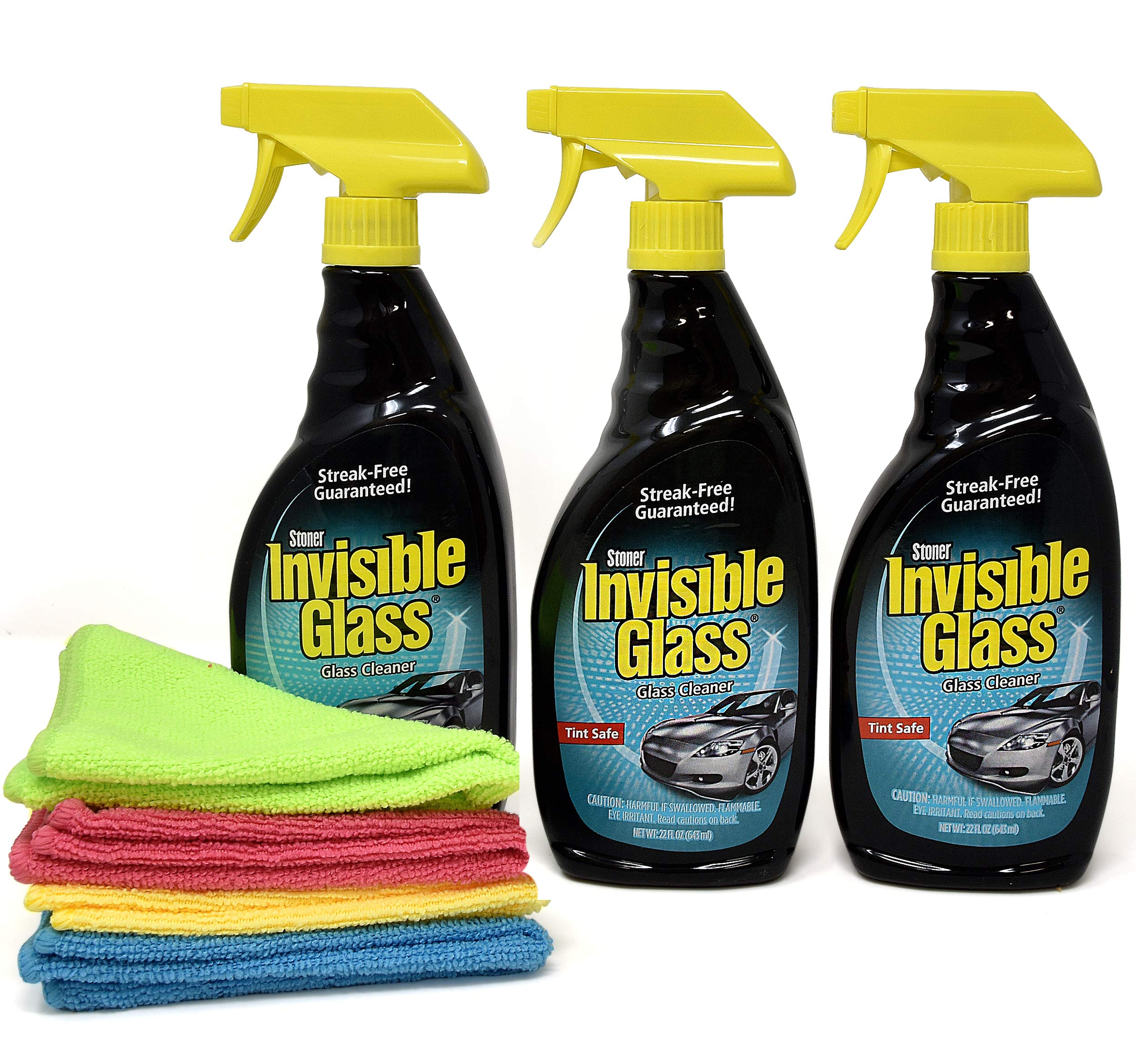 Invisible Glass Cleaner and Window Spray, Streak Free Shine for Auto, Film Free Glass Cleaner Safe for Windshield, Tinted and Non Tinted Windows-3 Pack, and 4 UBEN Microfiber 12x12 Cleaning Cloths
