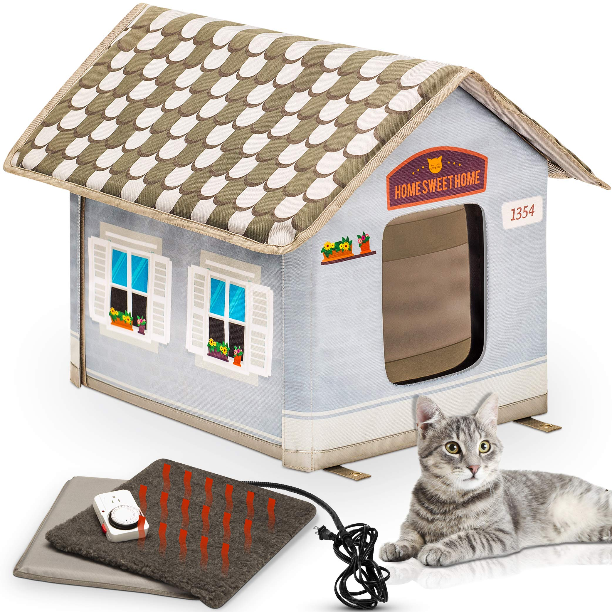 PETYELLA Heated cat Houses for Outdoor Cats in Winter – Heated Outdoor cat House Weatherproof – Outdoor Heated cat House…