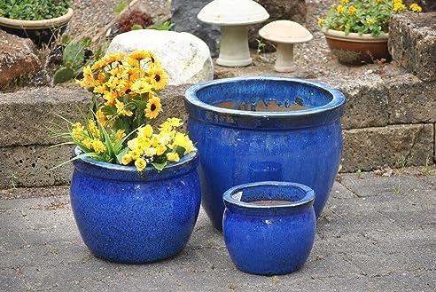 Pflanzkübel,blau,3er Set.frostfest!!!!!38/28/21cm: Amazon.de: Garten