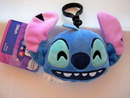 Disney Lilo & Stitch, Stitch Emoji Plush Backpack Clip 4 Inch, Two Sided Soft