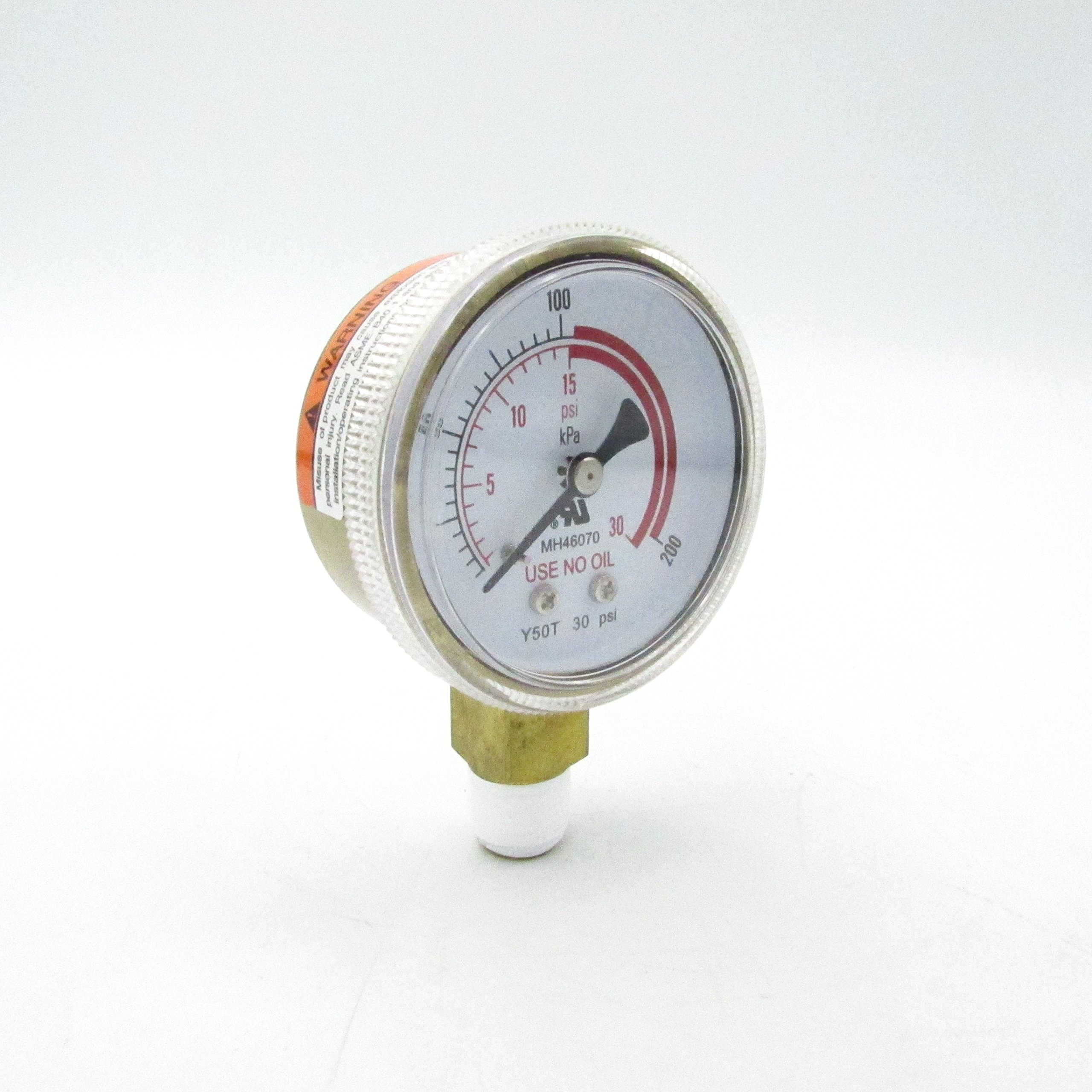 YAGI MH46070 Gold Plated Steel Pressure Gauge For Compressed Gas Regulators 30PSI