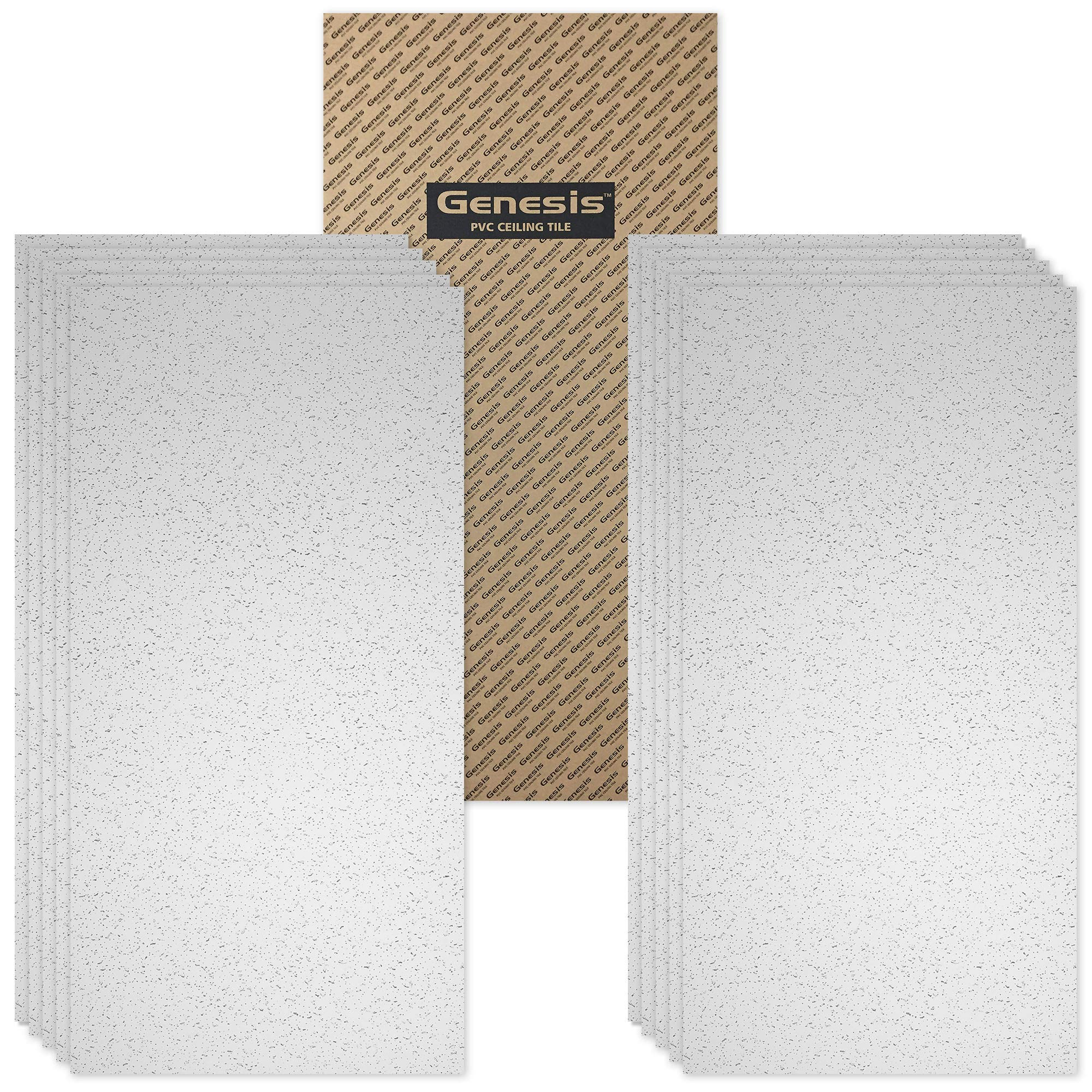 Genesis Easy Installation Printed Pro Lay-in White Ceiling Tile/Ceiling Panel, Carton of 10 (2' x 4' Tile) by Genesis