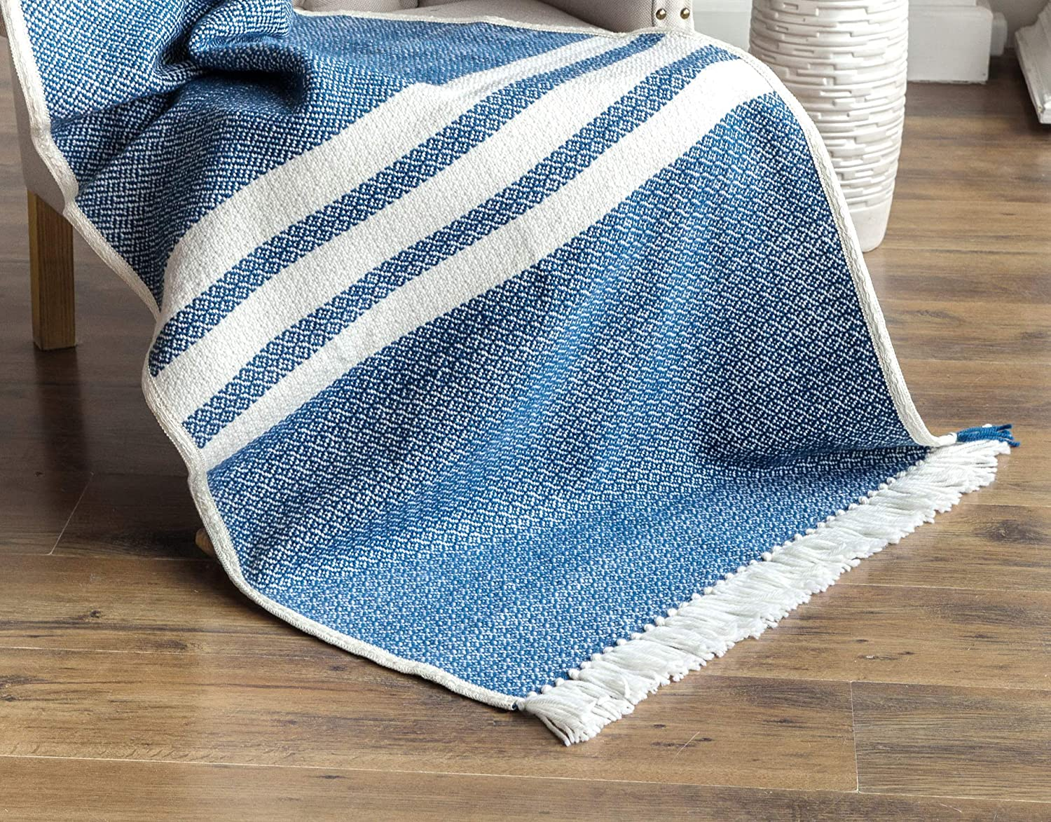 Surprising Amazon Com Wool Throw Handwoven Blanket Blue White Striped Creativecarmelina Interior Chair Design Creativecarmelinacom
