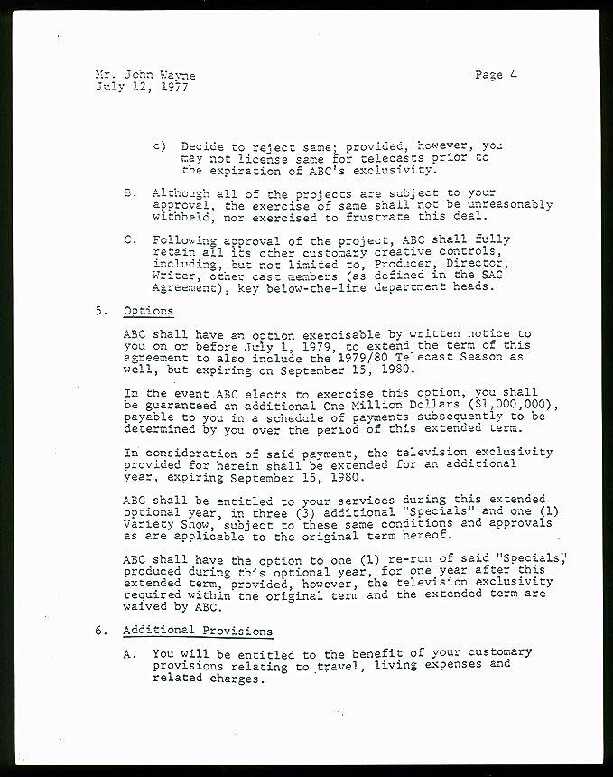 Amazon John Wayne Signed 5 Page 1978 79 6 Part Abc Tv Specials
