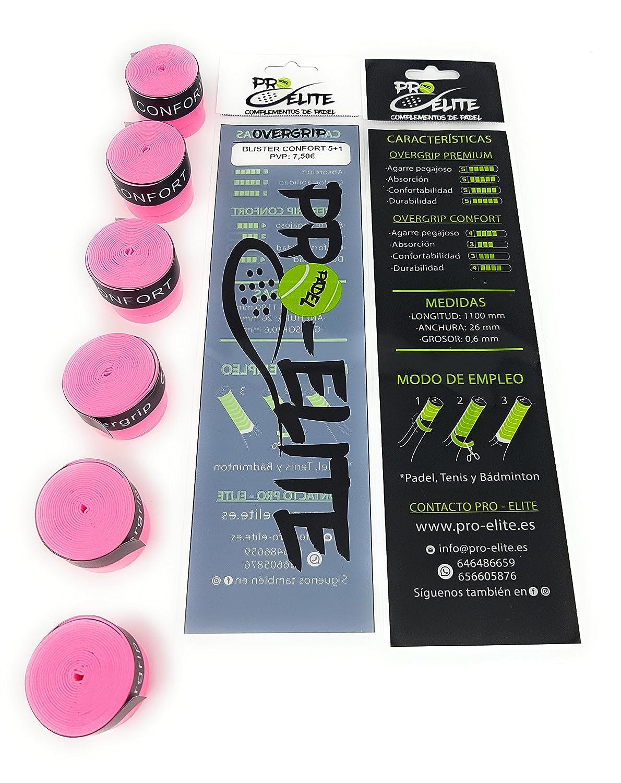 overgrips Pro Elite Confort Perforados Rosas Flúor. Blister 5+1unds.: Amazon.es: Deportes y aire libre