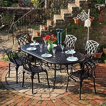 Lazy Susan - Table ovale 210 x 105 cm CATHERINE et 6 chaises de ...