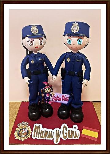 Fofuchos figura pareja novios boda tarta policia nacional personalizados: Amazon.es: Handmade