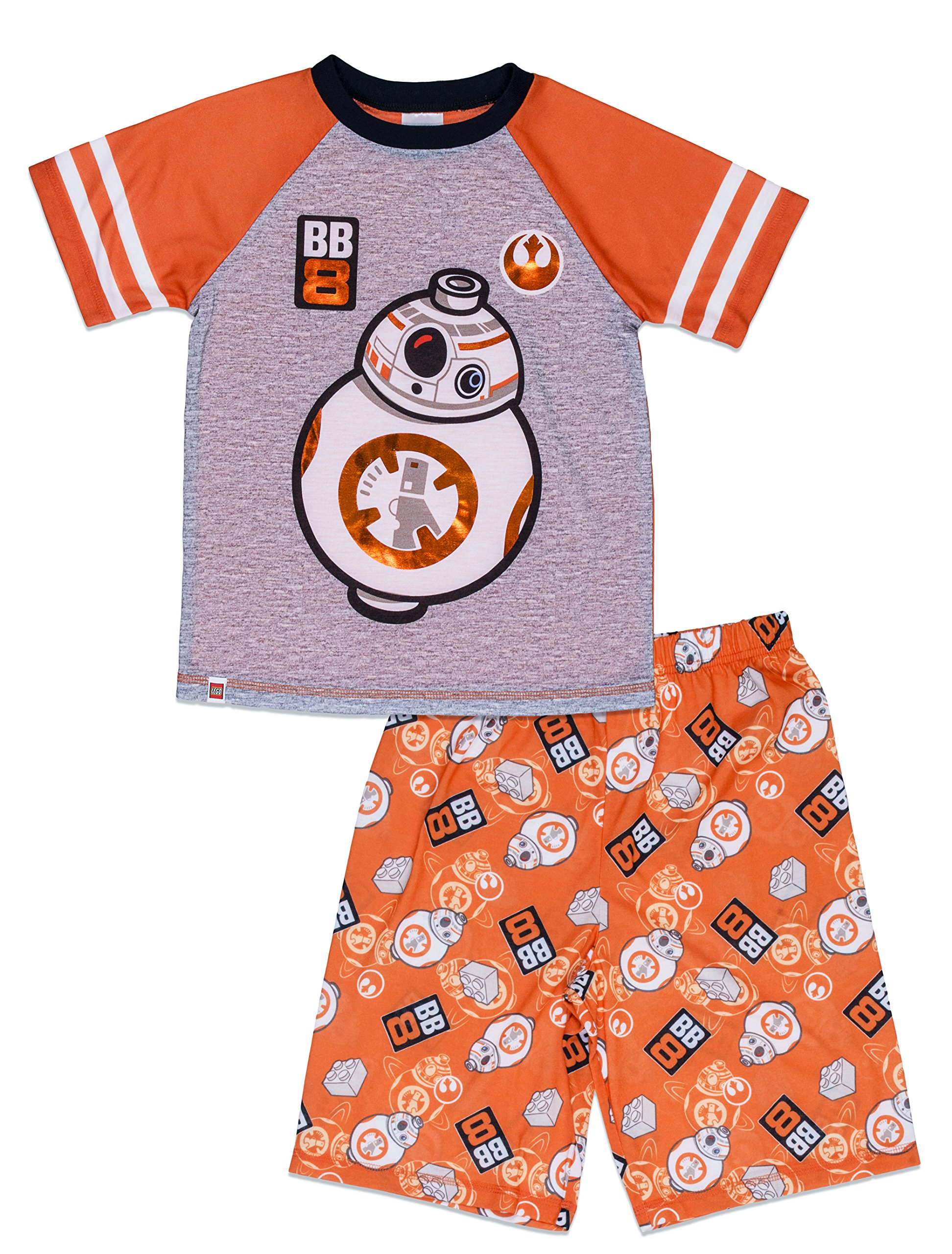 LEGO Star Wars Big Boys' BB-8 2-Piece Pajama Short Set, Orggry, 6/7