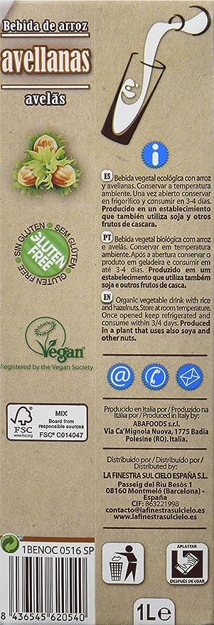 La Finestra Sul Cielo Bebida Vegetal de Arroz con Avellanas - Paquete de 6 x 1000 ml - Total: 6000 ml: Amazon.es: Alimentación y bebidas