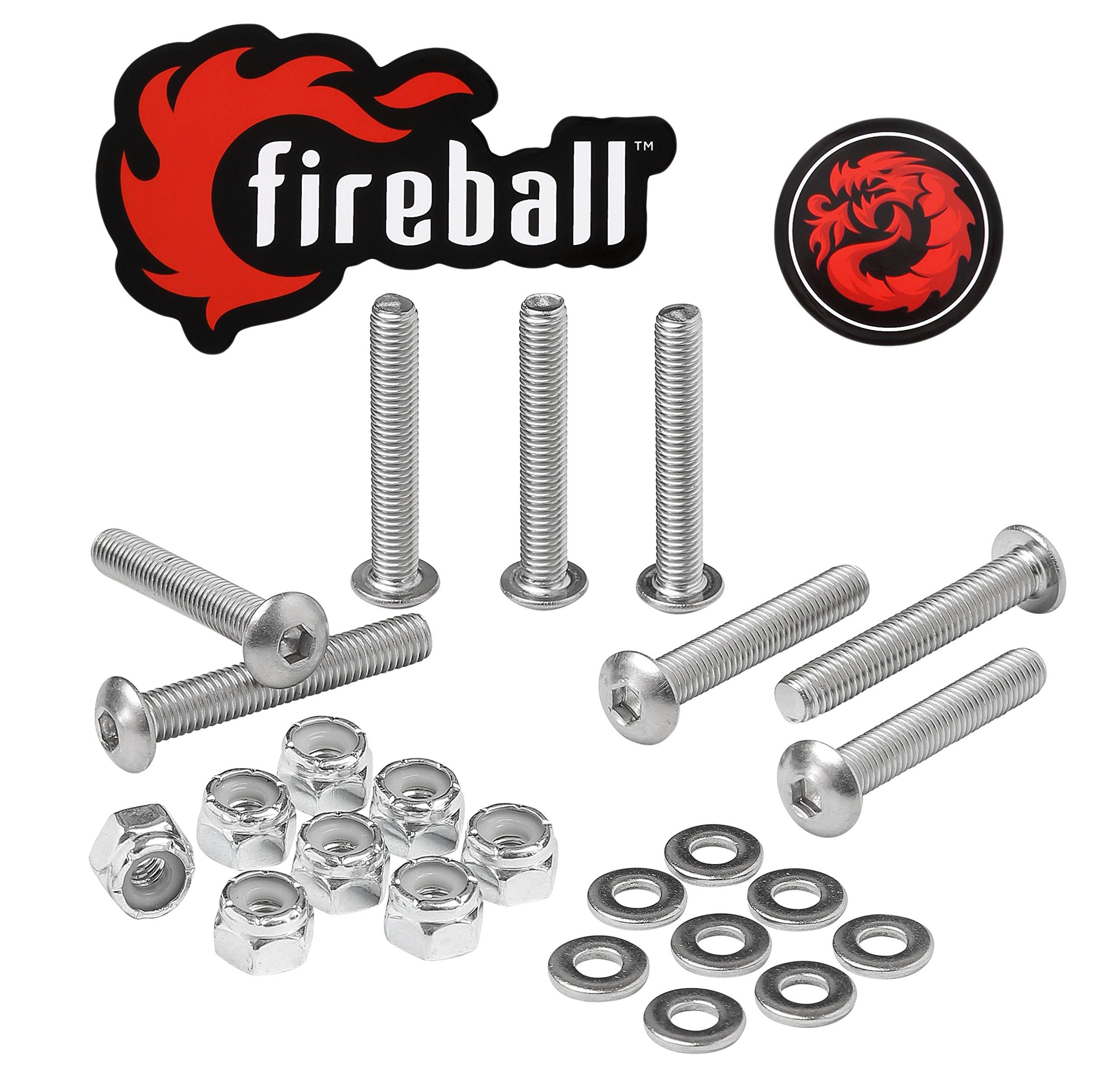 Fireball Dragon Stainless Steel Skateboard Hardware Set (Button Allen, 1.25'') by Fireball (Image #1)