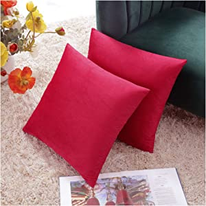COMFORTLAND 2 Pack Decorative Throw Pillow Covers, Square Soft Luxury Velvet Cushion Covers, 18x18 Solid Pillowcase Set for Sofa Couch Bed Chair Car Home Decor, Red