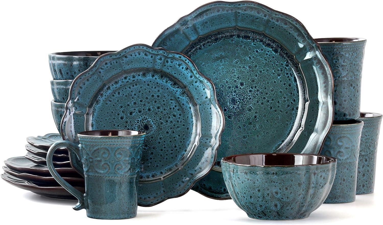Elama Round Stoneware with Scalloped Edges Dinnerware Dish Set, 16 Piece, Blue