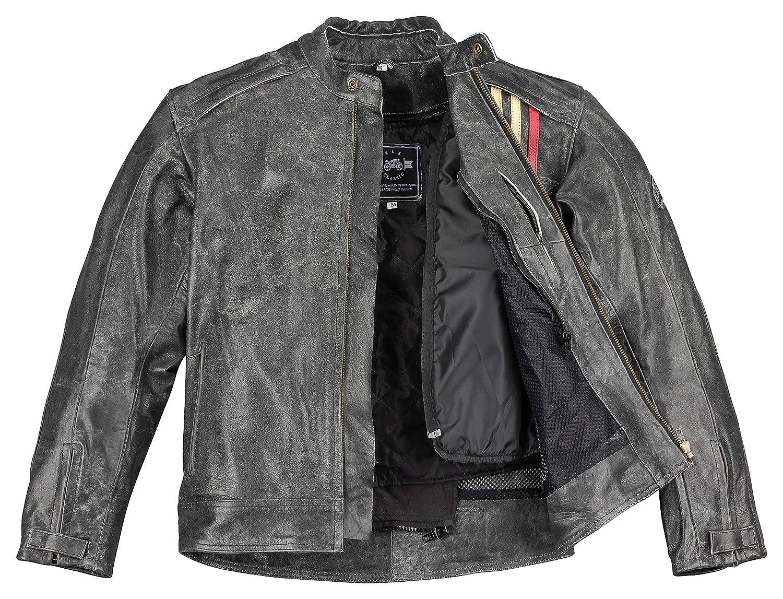 XLS Motorradjacke Classic Urban f/ür Herren schwarz aus Leder Retro Bikerjacke herausnehmbares Thermofutter Gr/ö/ße L