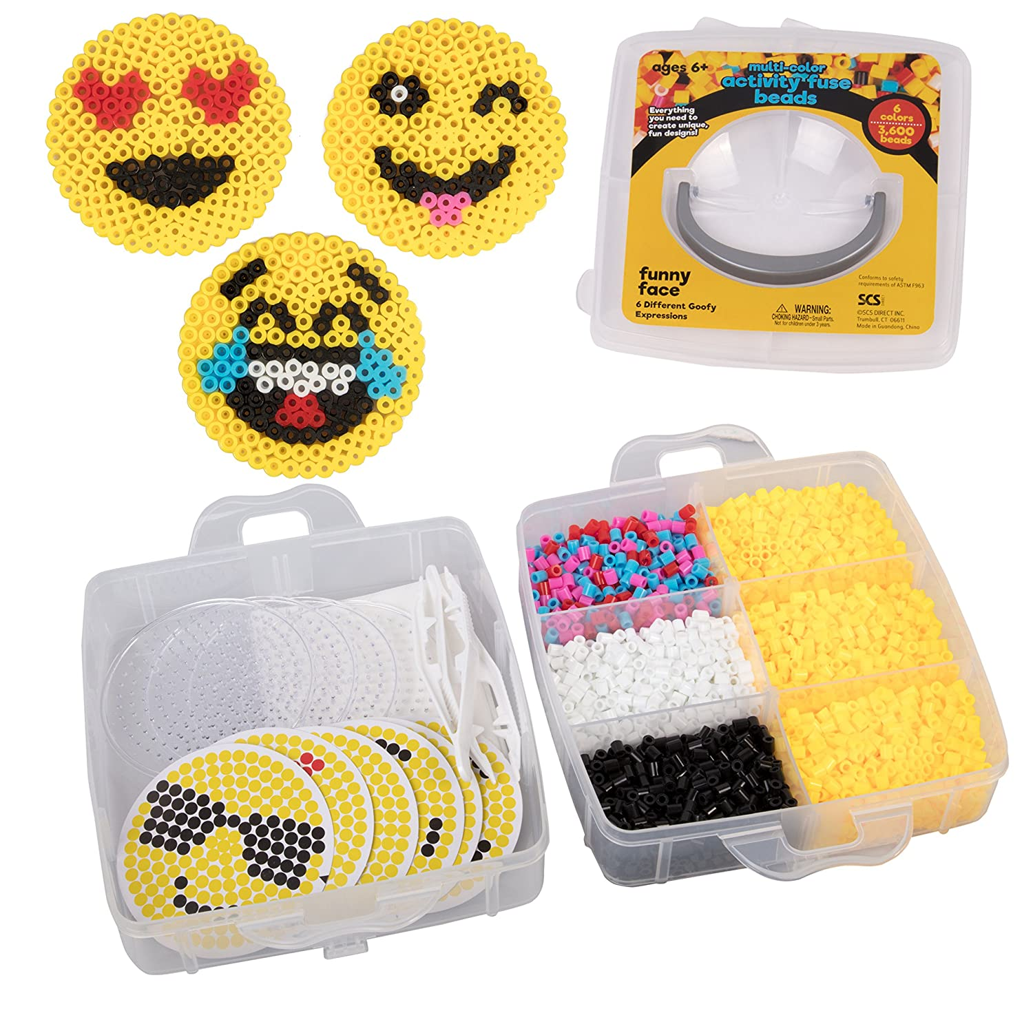 Emoji Smiley Face Fuse Beads - 6 Different Emojis - 3600pcs Beads (6 Colors), Tweezers, Peg Boards, Ironing Paper, Case - Works with Perler Beads Sculpt Pro