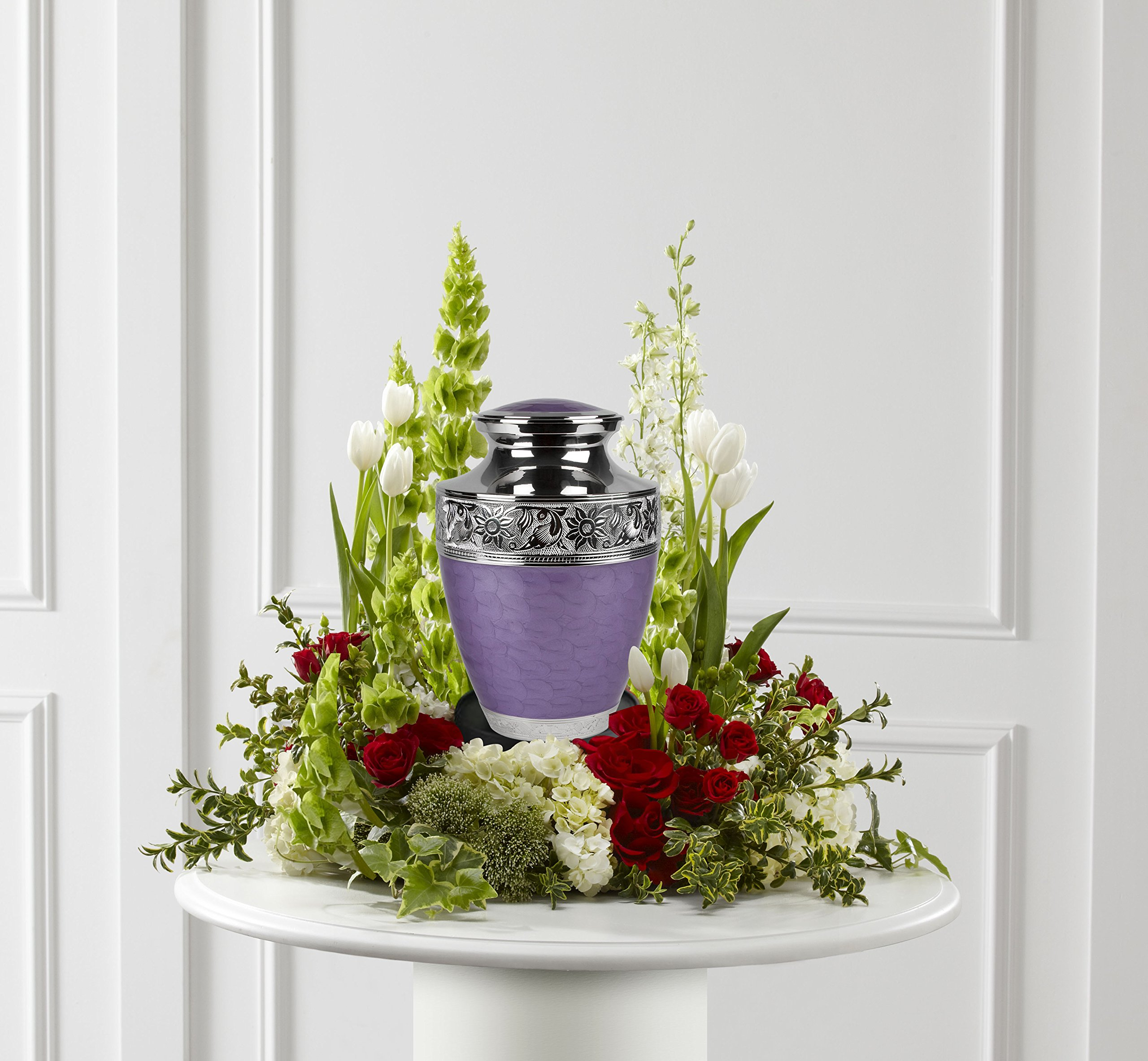 Large Lavender Bloom Cremation Urn for Human Ashes- Lavender Urn - Adult Funeral Urn Handcrafted with Engraved Silver Bands - Brass Urn - Large Urn Deal with Free Bag