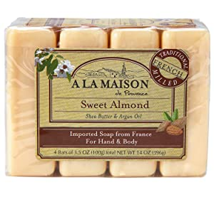 A La Maison Soap Bars, Sweet Almond, Value Pack 3.5 oz, 4 Count