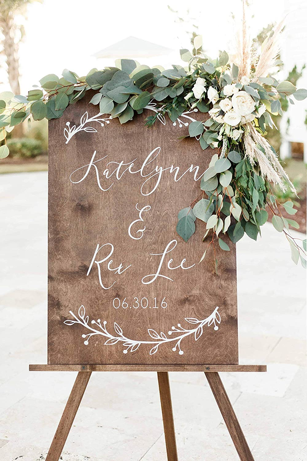 Amazon Com Floral Wedding Welcome Sign Custom Wedding Decor Display Date Couple Name Personalized Welcome Wedding Sign Weathered Oak Stain Wood Sign Wedding Reception Decorations Handmade