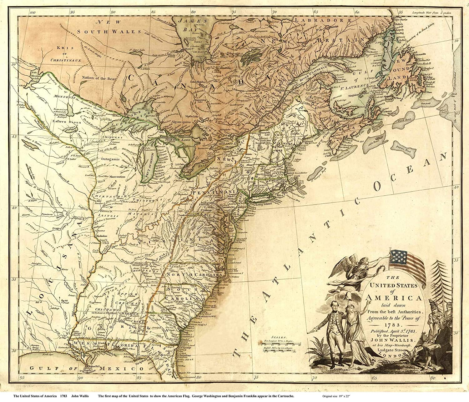 Amazon.com: The United States of America 1783 Map - USA ...