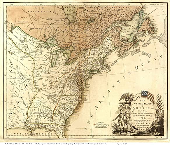 Amazon.com: The United States of America 1783 Map - USA Reprint ...